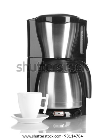 coffee machine and cup isolated on white