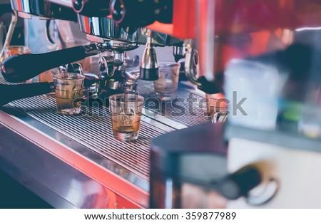 Coffee machine in coffee shop, Selective focus- Vintage Tones - stock photo