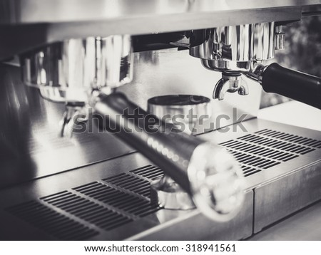 Coffee machine making espresso Cafe restaurant Black and white