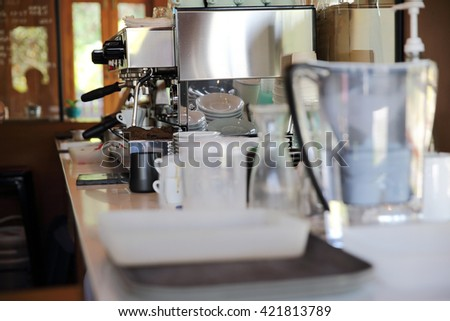coffee machine with making coffee - stock photo