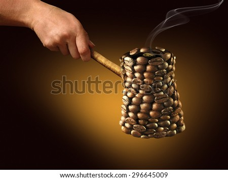 coffee maker. coffee maker consists of coffee beans on a golden-dark background - stock photo