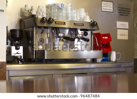 Coffee maker in a cafeteria - stock photo