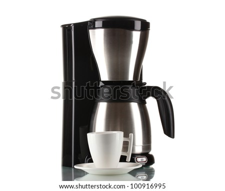 Coffee maker with white cup isolated on white