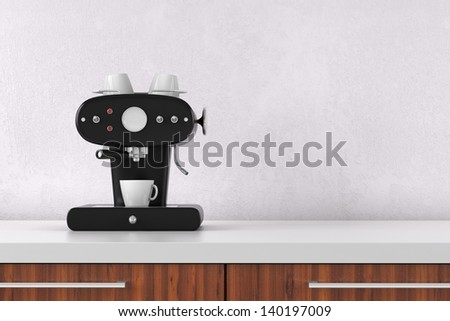 Coffee maker with white wall and copy space - stock photo