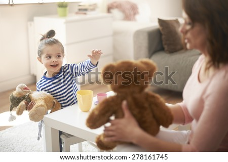 Coffee meeting with mommy and my friends - stock photo