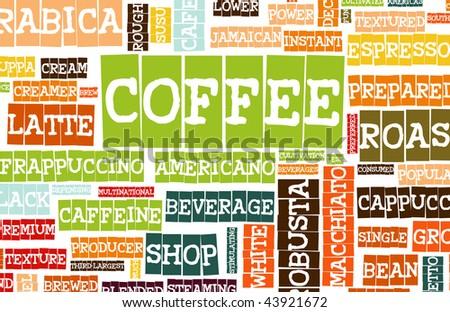 Coffee Menu Beverage as a Art Grunge Background - stock photo
