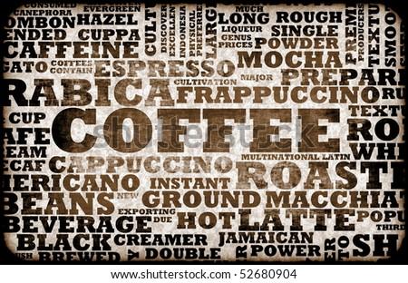 Coffee Menu Choices as a Creative Background - stock photo