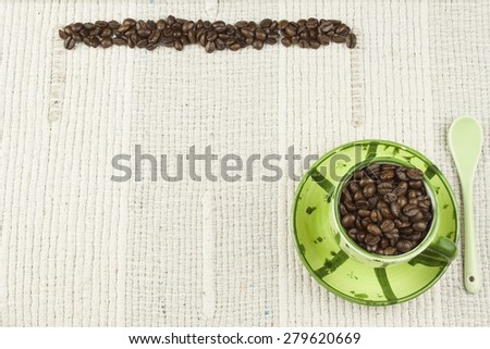 coffee menu, preparing drinks are, coffee on a white tablecloth with cup, background for text - stock photo