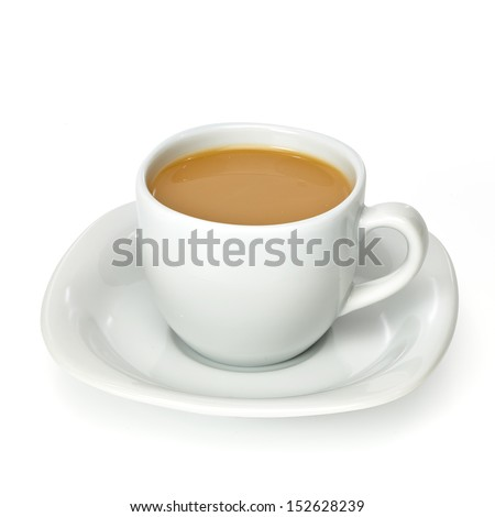Coffee milk in porcelain cup with clipping path - stock photo