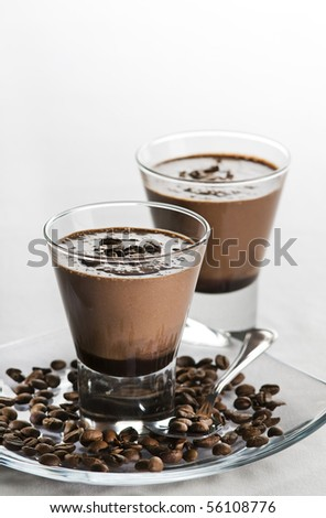 Coffee milkshake with chocolate close up shoot - stock photo
