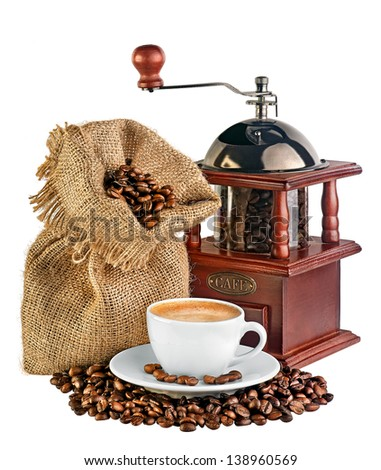 coffee mill, canvas bag with coffee beans and a cup of black coffee isolated on white background - stock photo