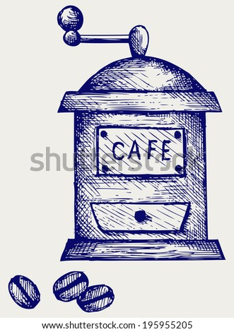 Coffee mill. Doodle style. Raster version - stock photo