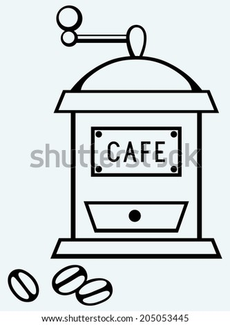 Coffee mill. Image isolated on blue background. Raster version - stock photo