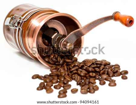 Coffee mill isolated on white background - stock photo