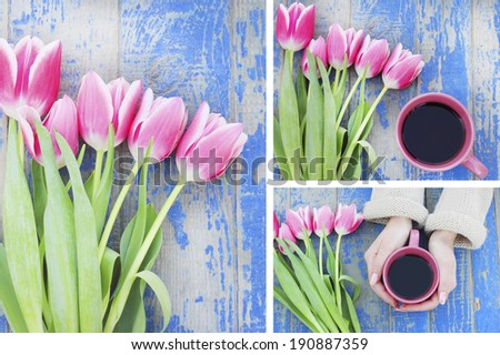 coffee mug in hand flowers  tulips - stock photo