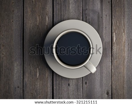 Coffee mug on wooden table top view. 3d render image. - stock photo