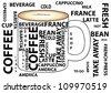 Coffee mug  sketches and  typography - stock photo