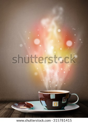 Coffee mug with abstract steam and colorful lights, close up - stock photo