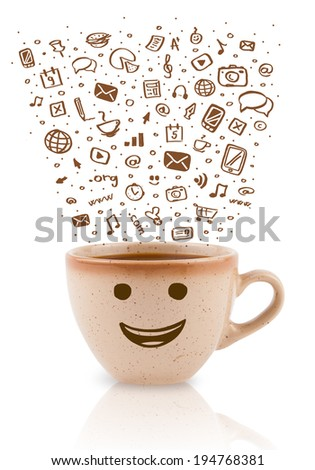 Coffee-mug with hand drawn media icons, isolated on white - stock photo