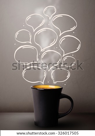 Coffee mug with hand drawn speech bubbles, close up - stock photo