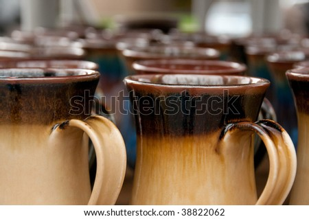 Coffee Mugs at the Boise Saturday Market - stock photo