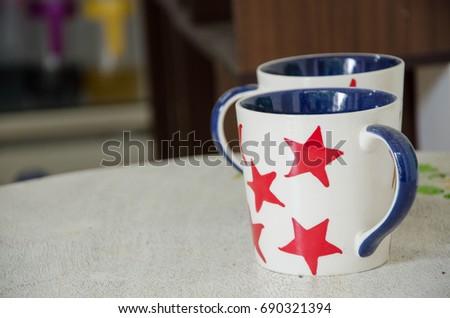 coffee mugs red stars on them stock photo edit now shutterstock