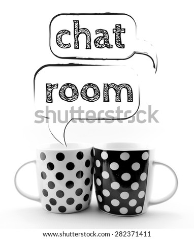 Coffee mugs with speech bubbles Chat room isolated on white background - stock photo