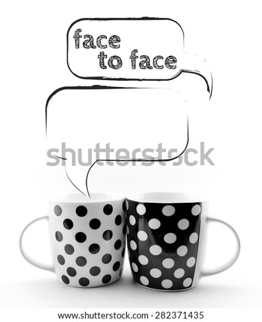 Coffee mugs with speech bubbles Face to face text  isolated - stock photo