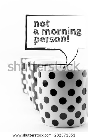 Coffee mugs with speech bubbles isolated on white background - stock photo