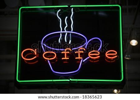 coffee neon sign - stock photo