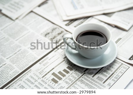 Coffee  newspaper , business - stock photo