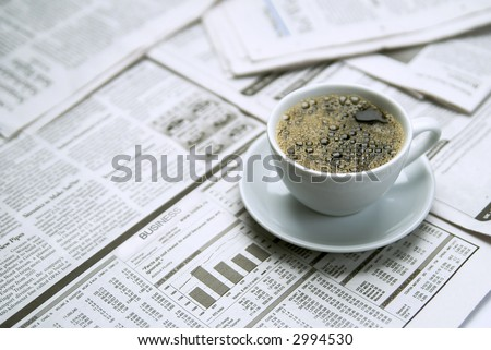 Coffee  newspaper, business - stock photo