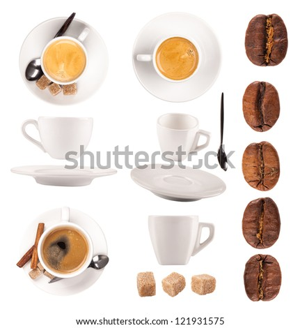 Coffee objects collection, isolated on white background - stock photo