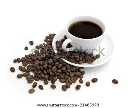 Coffee on a white background. - stock photo