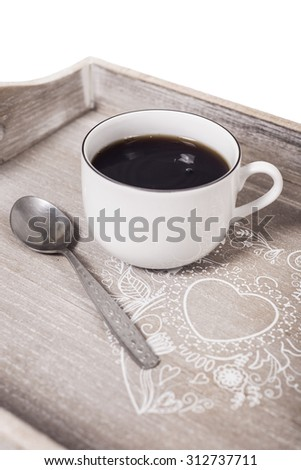 Coffee on breakfast tray