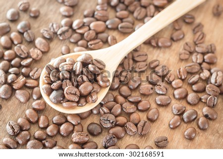 Coffee on grunge wooden background, stock photo