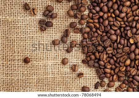 coffee on sack - stock photo