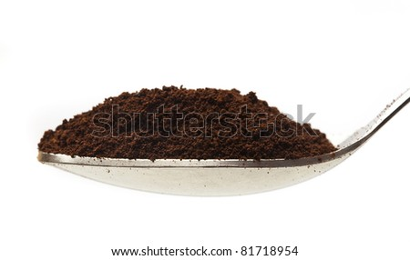 coffee on spoon on a white background