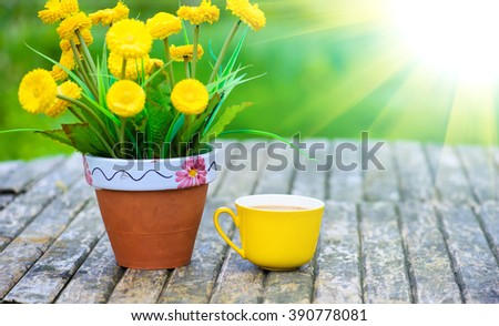coffee on the summer terrace - stock photo