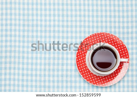 coffee on the table cloth - stock photo