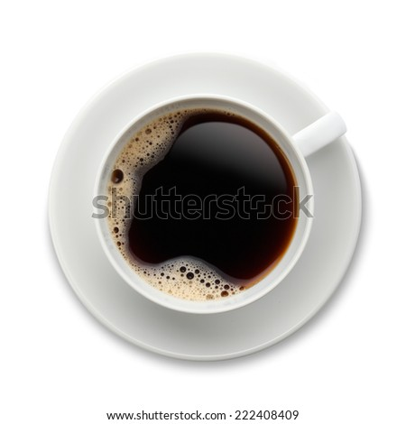 Coffee on white/Black Coffee in a white cup and saucer with bubbles - stock photo