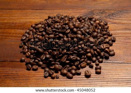 coffee on wood - stock photo