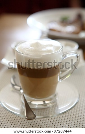 coffee on wood background - stock photo