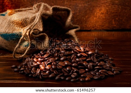 coffee on wooden table - stock photo