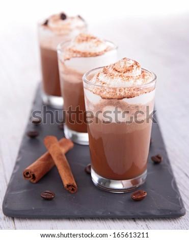 coffee or chocolate with cream - stock photo