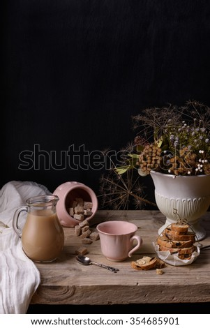 Coffee or cocoa vintage still life with cookies and winter bouquet, on wooden table.  Copy space. - stock photo