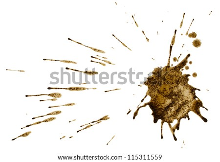Coffee or mud splash isolated on white background. Clipping path. - stock photo