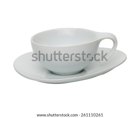 coffee or tea cup with saucer isolated on white background - stock photo