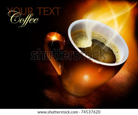 Coffee over black - stock photo