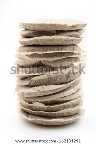 Coffee pads isolated on white - stock photo